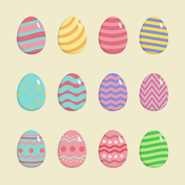 Красочные счастливые пасхальные яйца с другой текстурой, изолированные на белом фоне. Premium векторы