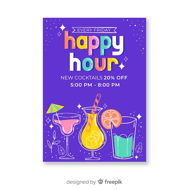 Colourful happy hour cocktails poster Free Vector