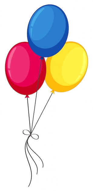 Colourful helium balloons on white background Free Vector