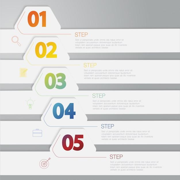 カラフルな水平インフォグラフィック、オプション、テキストボックスの図 Premiumベクター