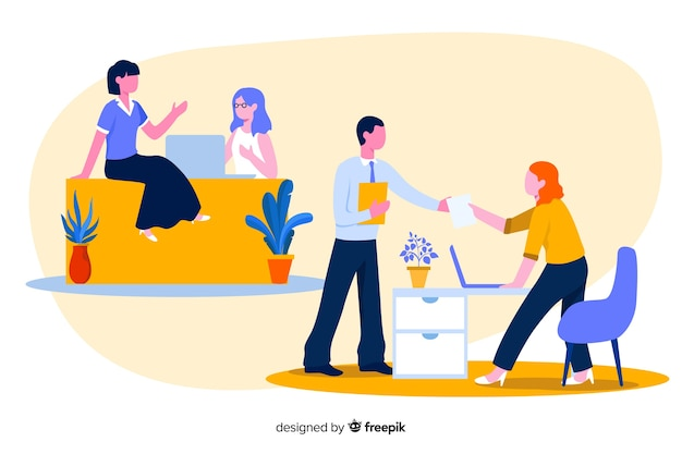 Colourful illustration of office workers sitting at desks Free Vector