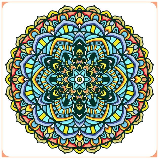 Colourful indian mandala art with floral motifs Premium Vector
