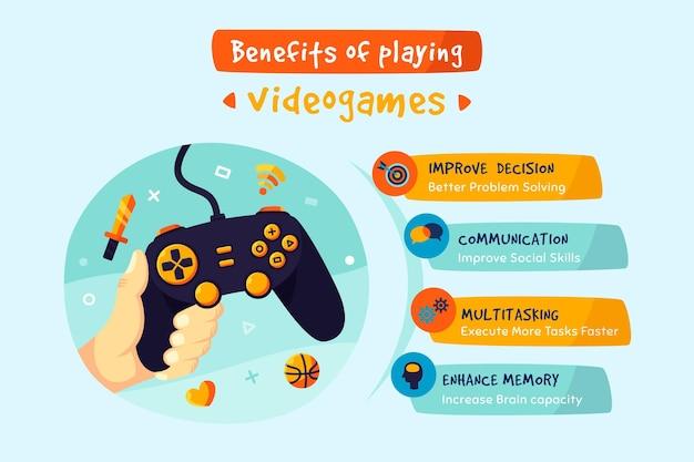 ゲームをプレイするメリットについてのカラフルなインフォグラフィック 無料ベクター