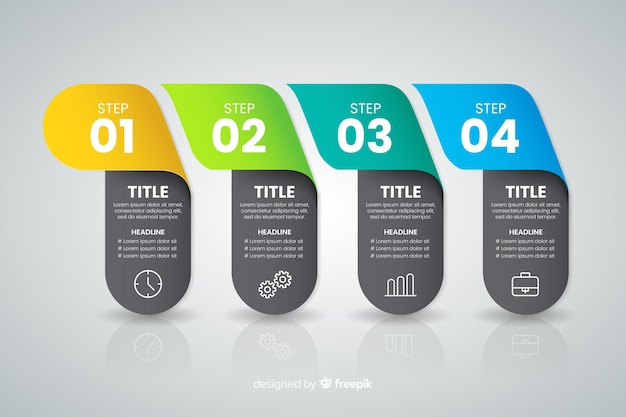 Colourful infographic steps concept Free Vector