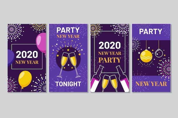 Colourful instagram post 2020 new year with champagne and balloons Free Vector