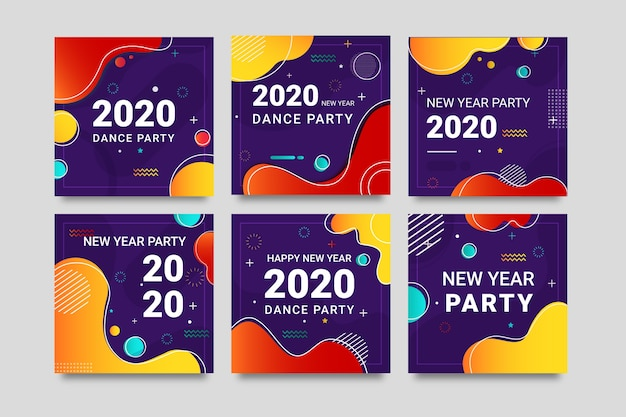 Colourful instagram post 2020 new year with liquid effect Free Vector