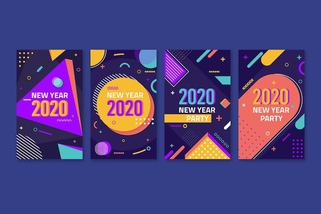 Colourful instagram post 2020 new year with memphis effect Free Vector