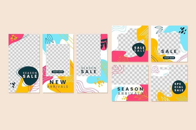 Colourful instagram post collection Free Vector