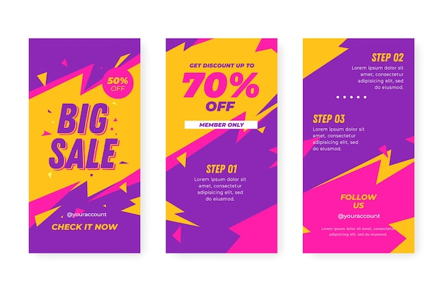 Colourful instagram sale stories and flashes Free Vector