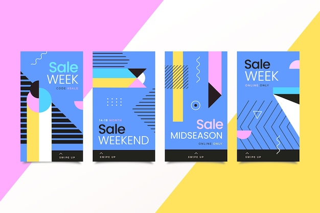 Colourful instagram sale stories for weekend Free Vector