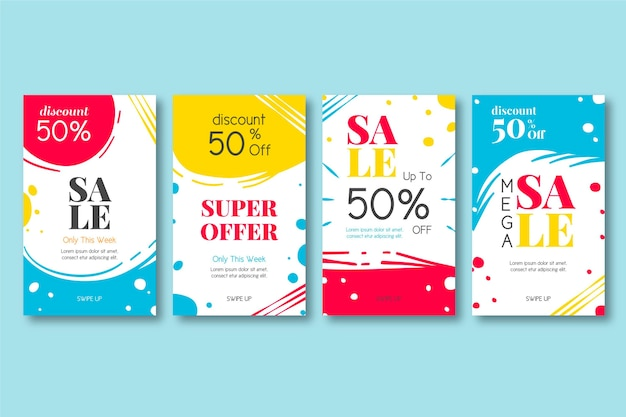 Colourful instagram stories with sales Free Vector