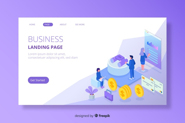 Colourful isometric marketing landing page Free Vector