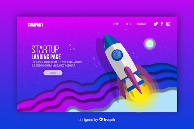 Colourful isometric startup landing page template Free Vector
