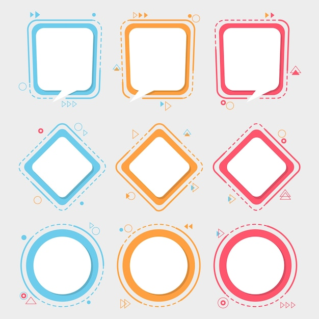 Colourful labels and frames set. Premium Vector