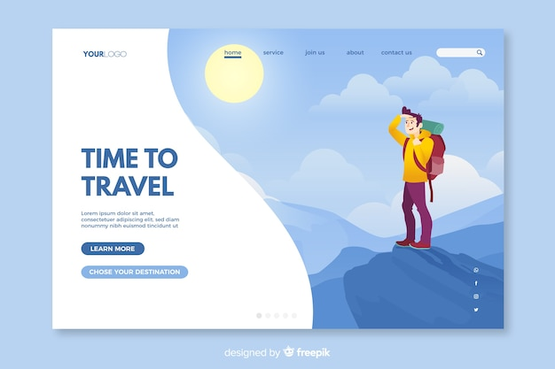 Colourful landing page for travelling enthusiasts Free Vector