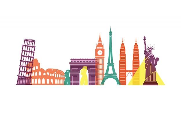 Разноцветные достопримечательности по всему миру Premium векторы