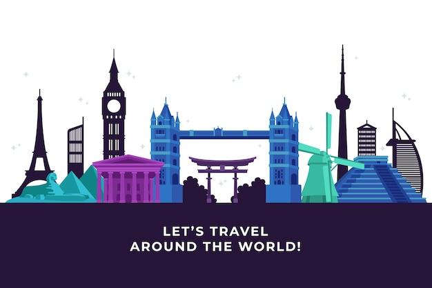 Colourful landmarks skyline travel around the world Free Vector