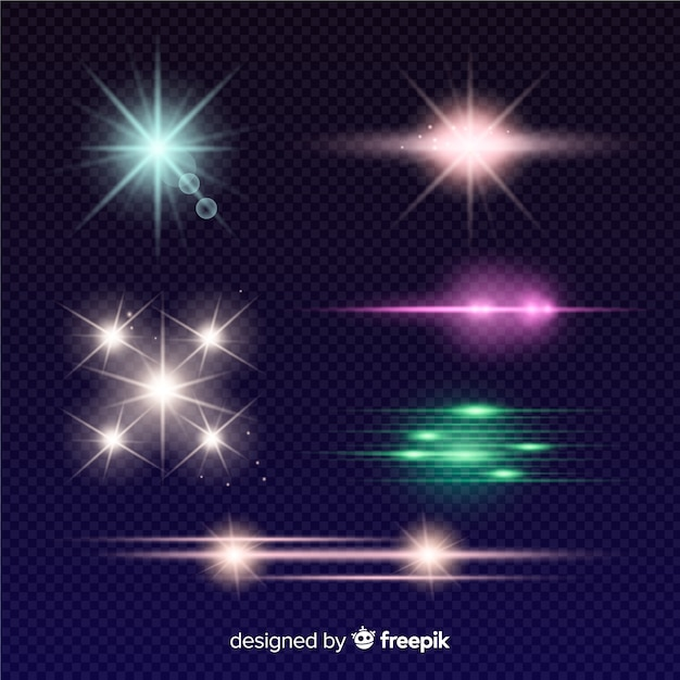 Colourful light effect collection Free Vector