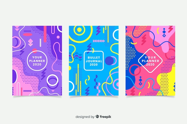 Colourful memphis cover collection Free Vector