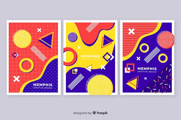 Colourful memphis covers collection Free Vector