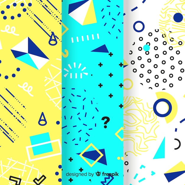 Colourful memphis pattern collection Free Vector