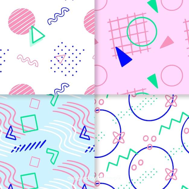Красочная коллекция шаблонов мемфис Бесплатные векторы