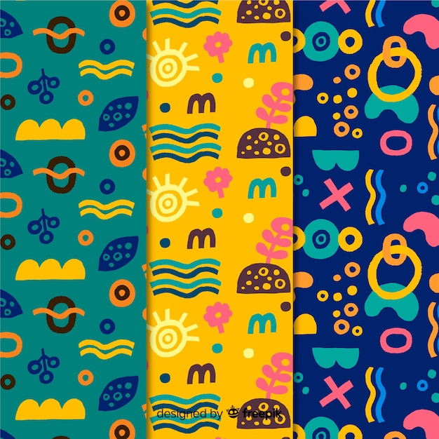 Colourful minimalist design hand drawn pattern collection Free Vector