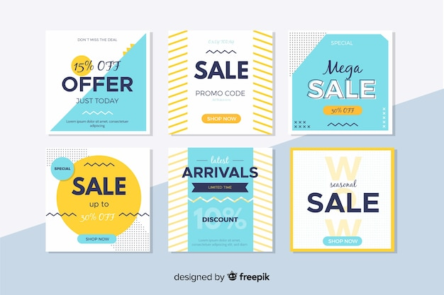 Colourful modern sales banners for social media Free Vector