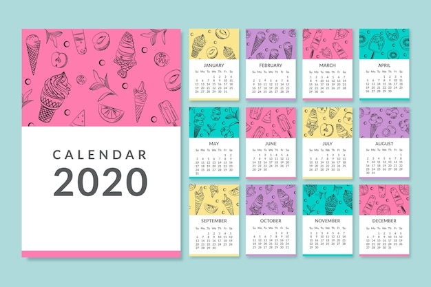 Colourful monthly 2020 calendar template Free Vector