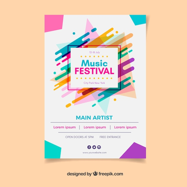 Colourful music festival poster Free Vector