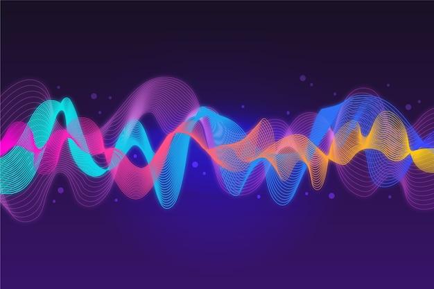 Красочный музыкальный фон звуковых волн Бесплатные векторы