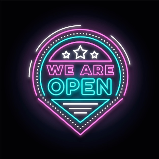 Colourful neon 'we are open' sign Free Vector