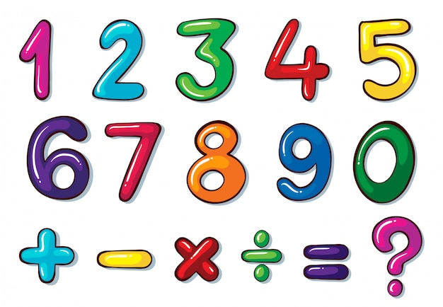 Colourful numbers and mathematical operations Free Vector