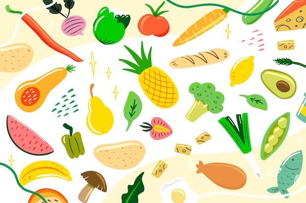 Красочная органическая и вегетарианская еда фон Бесплатные векторы