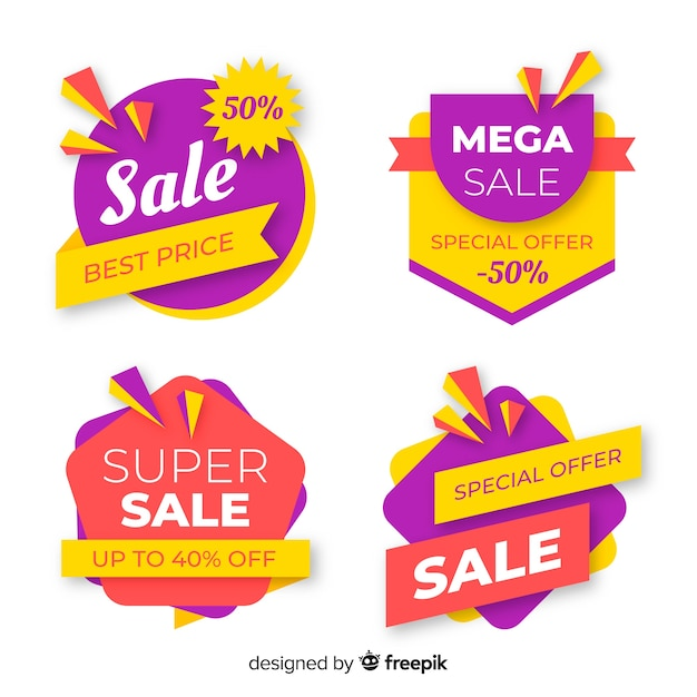 Colourful pack of abstract sale banners Free Vector
