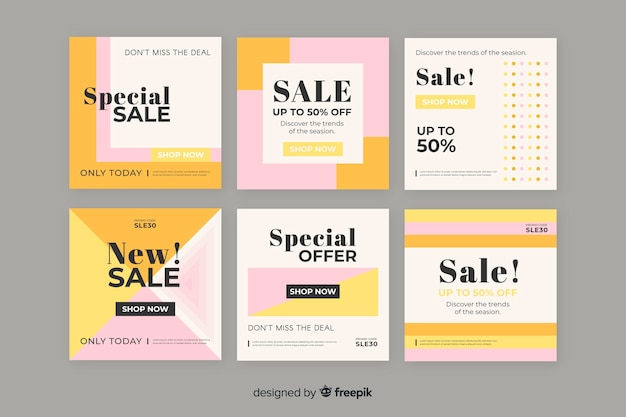 Colourful pack of modern sale banners for social media Free Vector