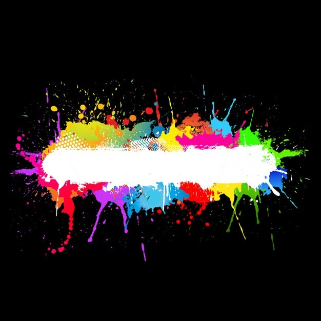 Black And Neon Paint Splatter Design