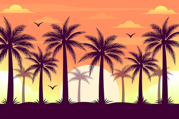 Colourful palm trees silhouettes background Free Vector
