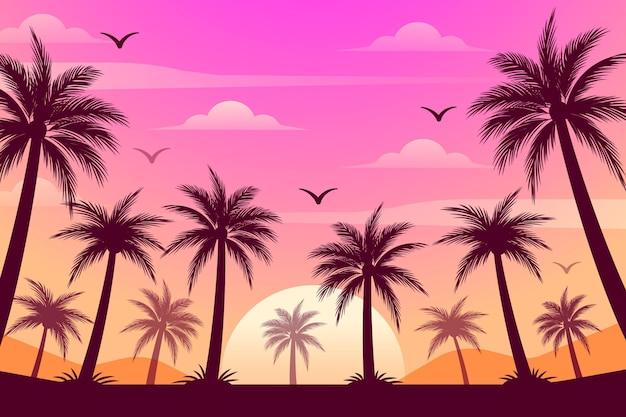 Красочные силуэты пальм обои Premium векторы