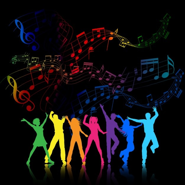 Colourful party background with people dancing Free Vector