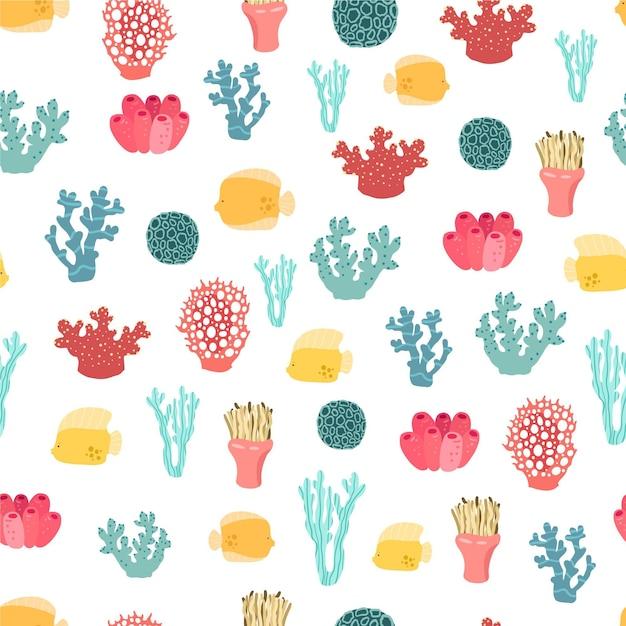 Modello colorato con diversi coralli Vettore gratuito