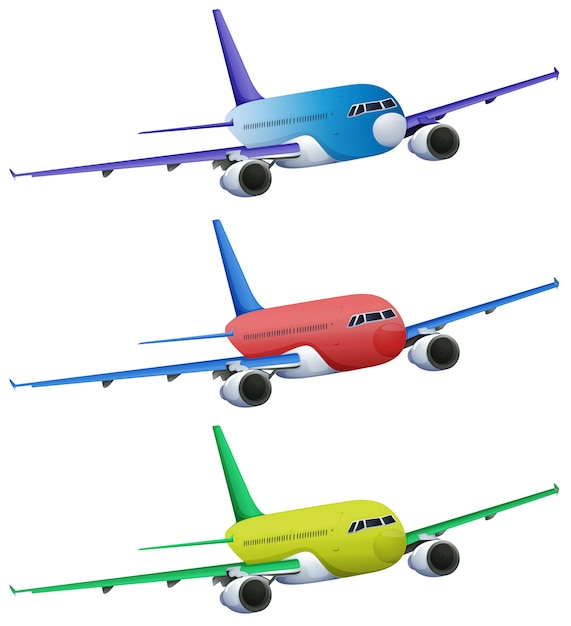 Colourful planes Free Vector