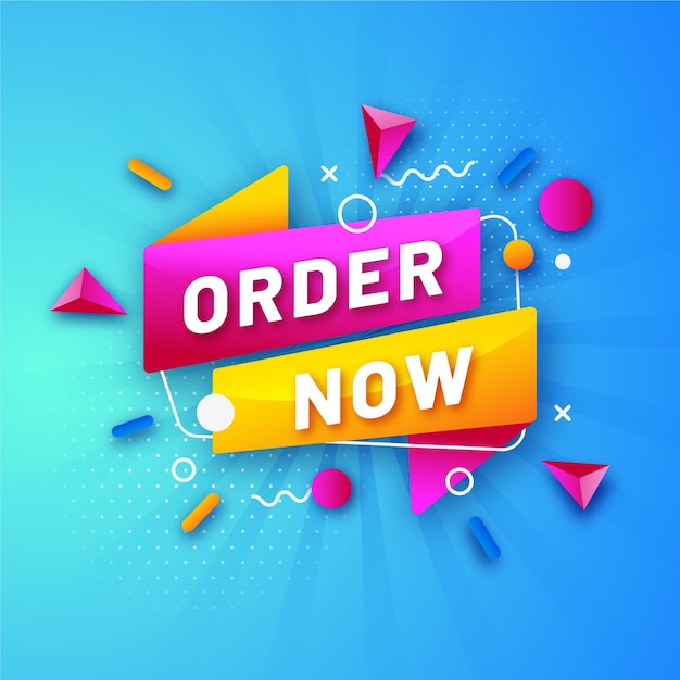 Colourful promotional order now banner template Premium Vector