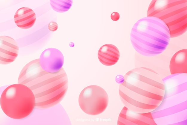 Colourful realistic flowing glossy balls background Free Vector