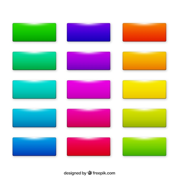 Colourful rectangle web buttons Free Vector