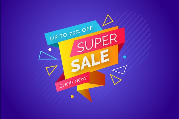 Colourful ribbons with super sales banner Free Vector