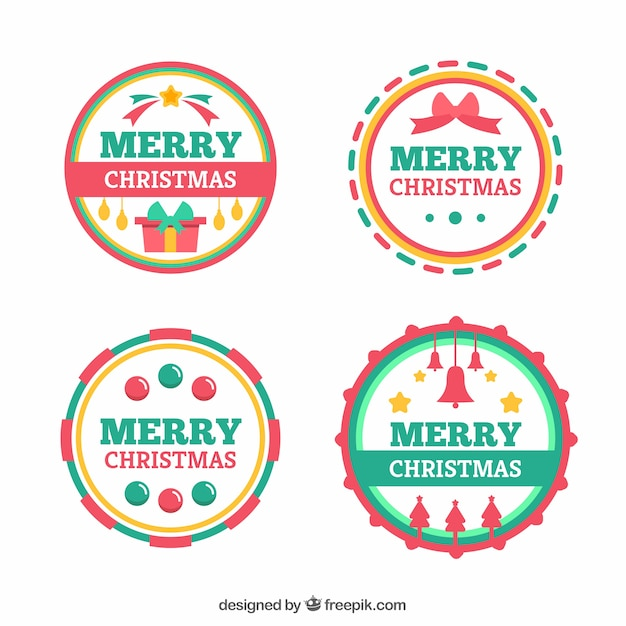 Merry Christmas Labels.Colourful Round Merry Christmas Labels Vector Free Download