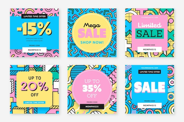 Colourful sale ad on instagram post Premium Vector