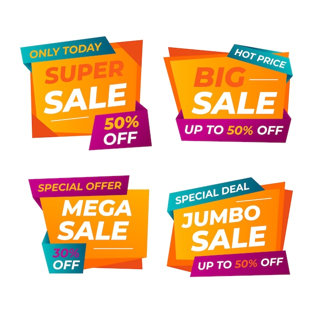 Colourful sale banner template design Free Vector