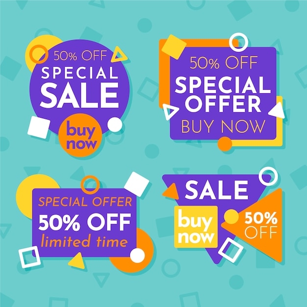 Colourful sale banners collection Free Vector